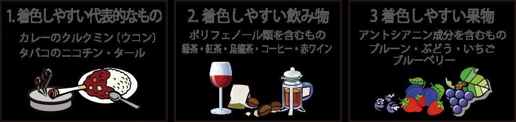 着色しやすい食べ物や飲み物一覧